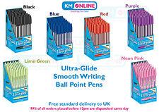 Ballpoint Pens Black/Blue/Red/Purple Ultra Glide Smooth Ink 1mm Medium Point Pen