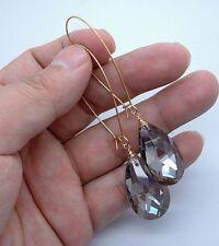 Briolette Smoky Quartz Gold Earrings -- Kidney Wire A0616