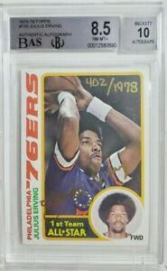 1978 Topps #130 Julius Erving Signed Card Autograph Buyback Auto BAS BGS 8.5/10