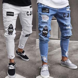 Mens Ripped Slim Fit Stretch Designer Biker Denim Pants Skinny Jeans Trousers US