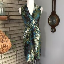 Kenneth Cole New York Silk Sheath Dress Green Abstract Sleeveless size 2