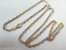 NEW 18INCH Pure 18K Multi-tone Gold Necklace Anchor Link Chain Necklace Au750