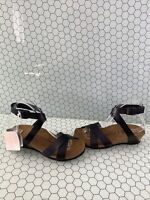 Papillio LOLA Black Leather Ankle Strap Wedged Sandals Women's Size 38 N