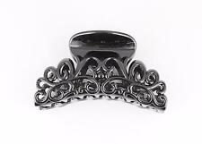 "Black plastic 3 5/8"" long big barrette hair clip claw clamp scroll cut out"