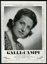 1949 Amri Galli-Campi photo opera singing recital tour booking print ad