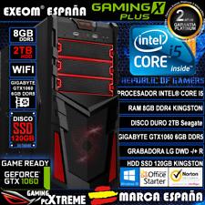 Ordenador Gaming Pc Intel i5 8GB 2TB SSD 120GB GTX1060 6GB OC Wifi de Sobremesa