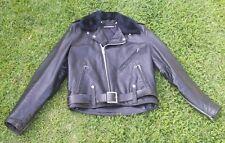 Vintage Original Harley Davidson Leather Bomber Jacket Cycle Fur Size 42 50s 60s