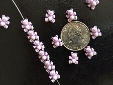 100 pcs Tiny Adorable Teddy Bear White w Purple Accents Acrylic Craft Beads