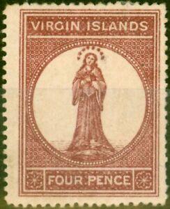 Virgin Islands 1867 4d Lake Red SG15 Fine Mtd Mint