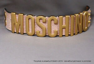 MOSCHINO CUFF BRACELET w/ BRUSHED GOLD LETTERS & PINK LEATHER
