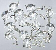Antique Crystal Drops Prisms Chandelier Octagonal 52 Pieces 14 Drops 38 Balls
