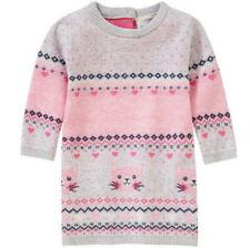 Strick Kleid Gr.56 Topomini NEU 100%Baumwolle rosa grau Katze Long Pullover baby