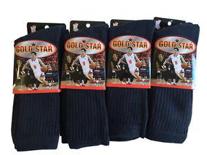 3 OR 12 Pairs NAVY BLUE COTTON Gold Star Men's Crew Socks Cushion Sports 10-13