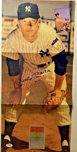 MICKEY MANTLE SIGNED POSTER FOLD-OUT 11X23 AUTO PSA DNA LOA NEW YORK YANKEES