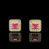 1/2CT Princess Ruby Halo Round Created Diamond Stud Earrings 14k Yellow Gold