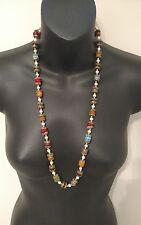 Antique Necklace Womens Beads Gold Tone mutlicolor blue orange purple