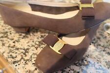 SALVATORE FERRAGAMO brown suede vera pump shoes size 9.5 aaa(taco600)