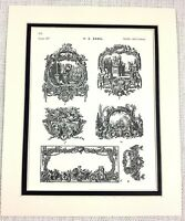 1903 Antique Print French Architectural Motif Painting Decoration Cartouche ART