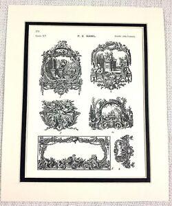 1903 Antique Print French Architectural Motif Painting Decoration Cartouche ART