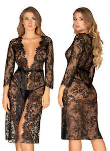 OBSESSIVE Lashy Luxury Super Soft Sheer Lace Robe / Peignoir