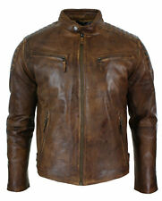 Mens Vintage Biker Style Moto Biker Cafe Racer Brown Distressed Leather Jacket