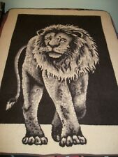 Lintex Vtg Lion Throw Blanket Biederlack Style Spain 74X58 Brown Tiger King