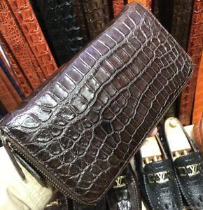 Genuine Crocodile Alligator Skin Leather Zip Around Brown Clutch Wallet