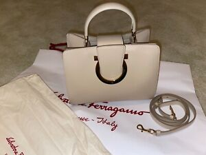 NWT Salvatore Ferragamo Thalia Top Handle bag Macadamia Calf Leather Gold Italy
