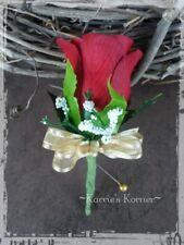 Red Silk Rose Boutonniere/Pin - Groom/Groomsman - Wedding-Celeb-Prom-Gold Bow