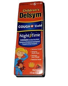 Children's Delsym Cough & Cold Nightime Acetaminophen Berry Flavor 4oz Exp 2/22