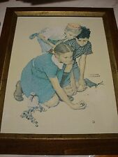"VINT. Norman Rockwell ""KNUCKLES DOWN"" SEP 3,193911x14 Print on Canvas-Wood Frame"