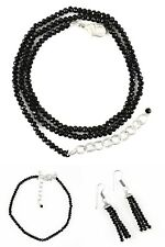 Natural Black Spinel Single Strand Round Cut Beads Handmade Necklace & Bracelet