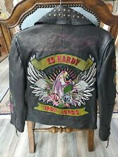 ED HARDY IRON LORDS Mens Black Leather Panther Tattoo art Studs Moto Jacket NEW