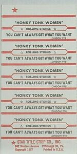 "JUKEBOX TITLE STRIP SHEET - THE ROLLING STONES ""Honky Tonk Woman"" London 910"