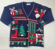 Nut Cracker Women's Knit Christmas Cardigan Patchwork Blue Presents Tree Size M