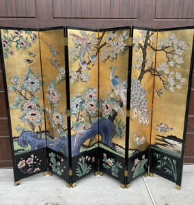Antique Vintage 6' Panel Solid Wood Lacquer Room Divider Screen Asian Gold Black