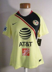 NWT Nike Club America Womens 2018/19 Stadium Home Soccer Jersey L Yellow MSRP$90
