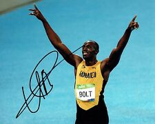 Usain Bolt SIGNED Rio 2016 Olympic Athlete 10x8 Race Photo 1 AFTAL Autograph COA
