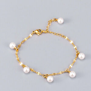 Woman 18K Gold Plated Stainless Steel Pearl Charm Sequins Chain Bracelet Bangle