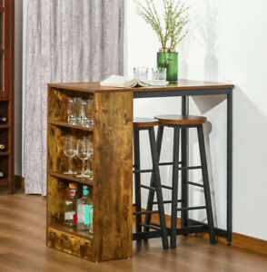 Breakfast Bar Table And Stools Kitchen Dining Room Vintage Industrial Furniture