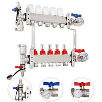 "5-Branch PEX Radiant Floor Heating Manifold Set - Stainless Steel For 1/2"" PEX"