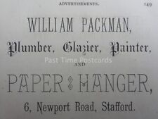Stafford - Packman PAINTER & PAPER HANGER 6 Newport Road 1886 Antique Advert