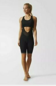 ADIDAS Women's Size XS Supernova Black Bib Cycling Reflective Padded Shorts