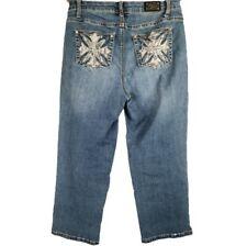 Earl Jean 6 Capri Jeans Blue Denim Distressed Embroidered Cross Rhinestone