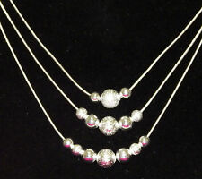 New 925 Sterling Silver Filled 3 Chain Shiny and Matt Ball Bead Necklace
