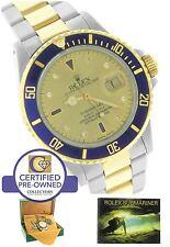 Rolex Submariner Serti Sapphire Diamond Champagne Two-Tone Gold Blue Dive Watch