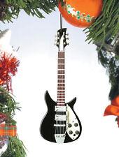 """BLACK RICKENBACKER 5.5"""" MUSICAL INSTRUMENT LENNON CHRISTMAS ORNAMENT"""