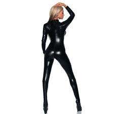 Sexy Ladies Faux Leather Black PVC Catsuit Jumpsuit Wetlook Bodysuit 4 Way Zip
