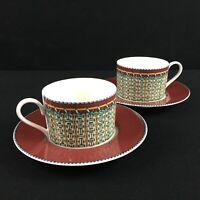 Set of 2 VTG Cups and Saucers Sasaki Montauk Erica Friedman Basket Weave Japan