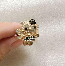 Wholesale 3Pcs GOLD Cat Fashion FLOWER Girl Lovely COLORS Rhinestone Finger Ring